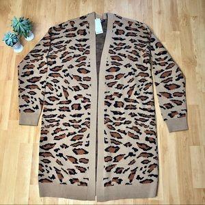 SPLENDID Leopard Print Long Sweater Cardigan